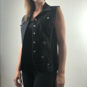 Christine Alexander black denim vest size medium